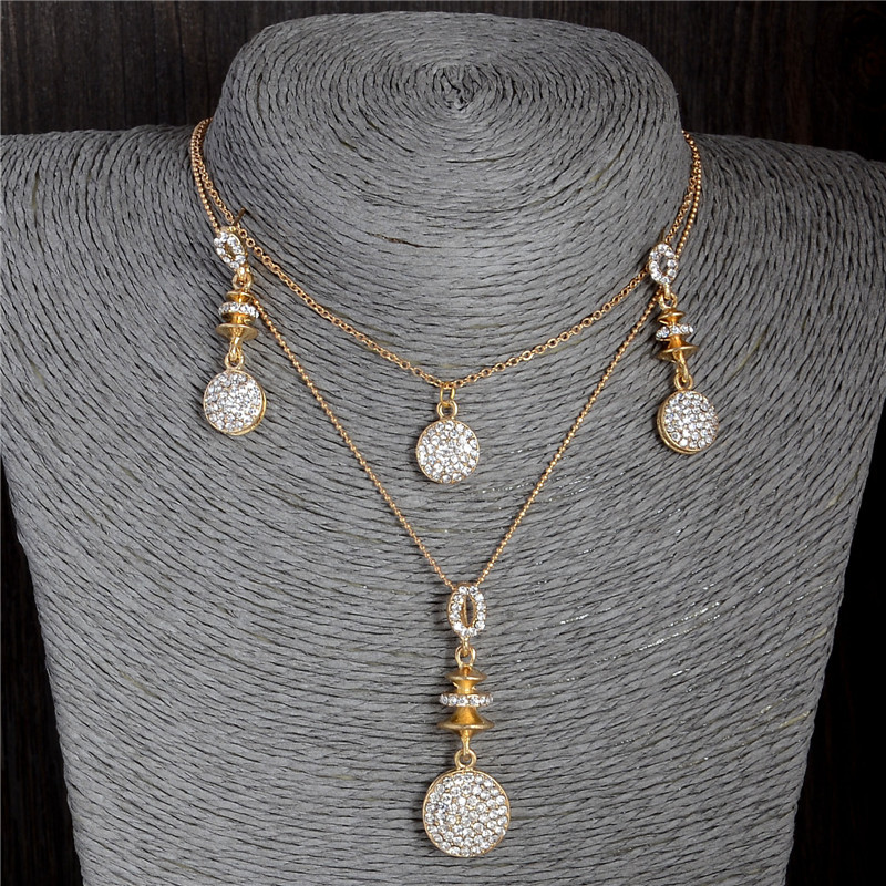 SHUANGR Gold Color Cute Round Brilliant Austrian Crystal Pendant Necklace Earrings Wedding Jewelry Sets