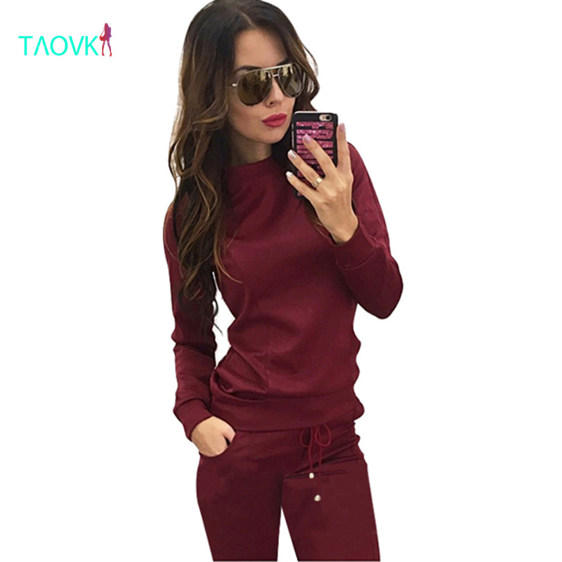 TAOVK design Women red 2-piece Sweatshirt Long Pant clothes