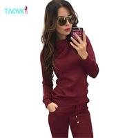 TAOVK nowa Rosja styl Kobiety Wine red & Apricot w kolorze, 2-częściowy Dresy Bluza + Długie Spodnie Rekreacyjne