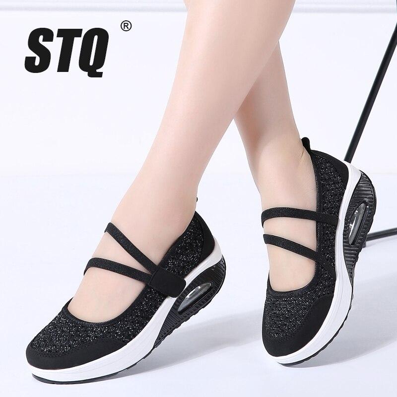 STQ 2020 Autumn Women Flats Platform Shoes Women Breathable Mesh Casual Shoes Female Platform Sneakers Shoes Ladies Shoes TF8023Womens Flats   -