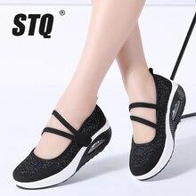 STQ 2020 Herbst Frauen Wohnungen Plattform Schuhe Frauen Atmungsaktivem Mesh Casual Schuhe Weibliche Plattform Turnschuhe Schuhe Damen Schuhe TF8023