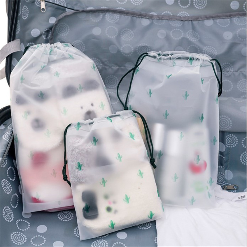 Makeup-Case Storage-Pouch Cosmetic-Bag Scrub Bath-Organizer Toiletry Cactus Transparent