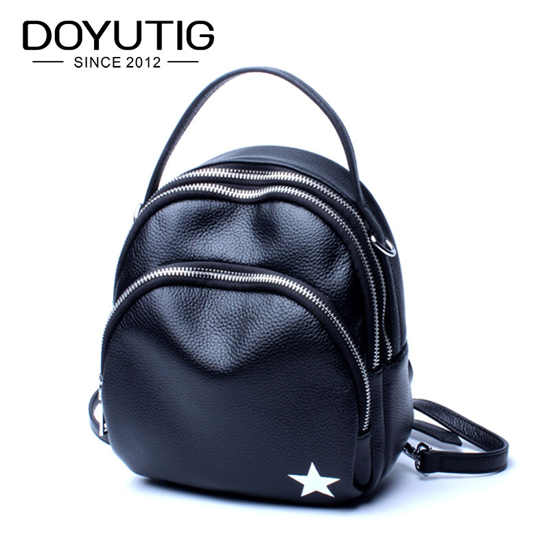 DOYUTIG New Arrival Genuine Leather Black Backpack For Women Fashion Real Cow Leather Knapsack Female Double Shoulder Bags E153