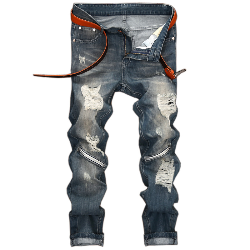 Ripped Hole Jeans 2017 New Men Knee Zipper Jeans Long Straight Trousers Slim Fit  Biker Cusual Cowboy Pants 2017 new men s fashion vintage zipper patch hole ripped biker jeans slim straight stretch denim pants long trousers