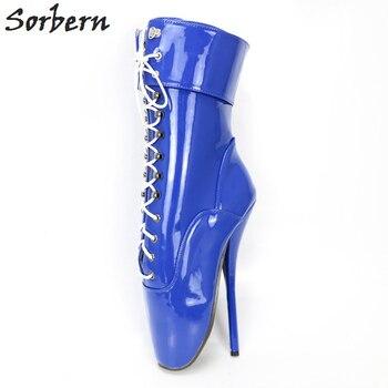 Sorbern Blue Shiny Pata Ballet Heel Boots For Women Pole Dance Lady Shoes Women Uk 10 Short Women Boots Custom Colors
