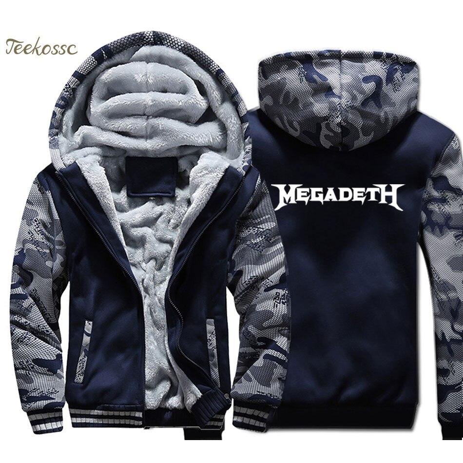 Band Hip Hop Hoodie Men Cool Sweatshirt Winter Thick Fleece Warm Zipper Camouflage Jacket Music Punk Rock Coat Streetwear Mens