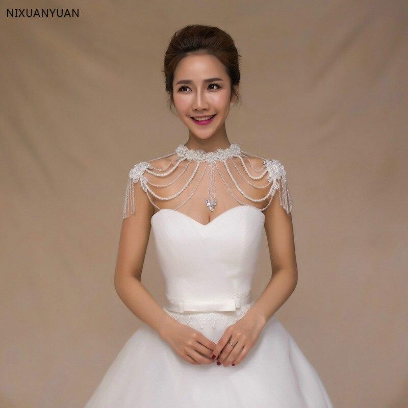 2019 cristal Peals o-cou Bling perlé blanc mariée enveloppes perles dentelle mariage châle veste boléro Wrap mariée foulard de tête pour femme