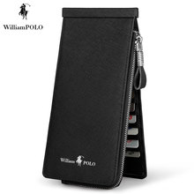 TIME LIMITED SELL WILLIAMPOLO 2017 Famous Brand Genuine Leather Dress Solid Pillow Mini Card Wallet POLO139