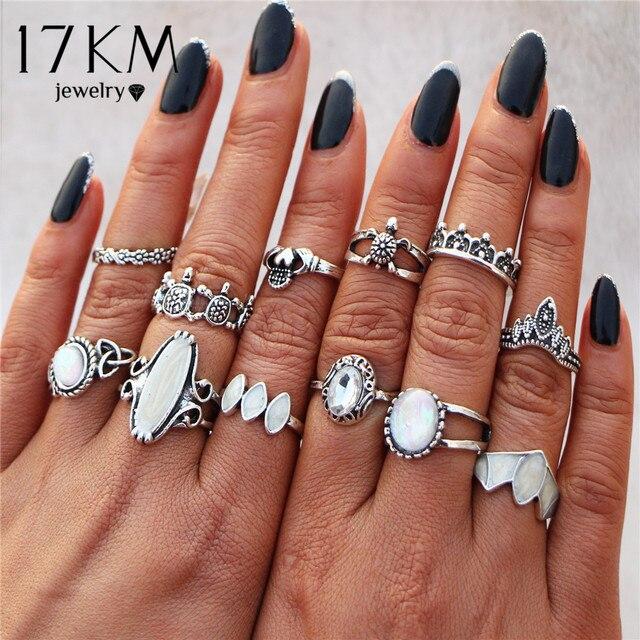 17KM Bohemia Tibetan Stone Opal Rings Set For Woman Fashion Bijoux Silver Color Flower Elephant Ring Retro Vintage Jewelry