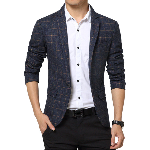 f61fdd9686e Men Casual Blazer 2018 Spring Mens Suits Blazer Single Button Men Slim Fit  Blazer For Men Jacket Suit Jacket Blazer Male h507