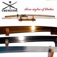 1060 STEEL oil quenching clay tempering golden blade handmade katana sword