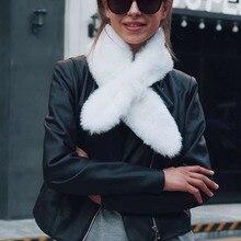 Women's Winter Warm 100*15cm Faux Fur Scarf Female Scarves Neck Ring Shawls White Black Brown Color