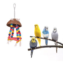 Color Bird Perch Parrot Hanging Swing Chew Toy Coconut Wood Bird Cage Accessories Toys Stand for Parrots(China)