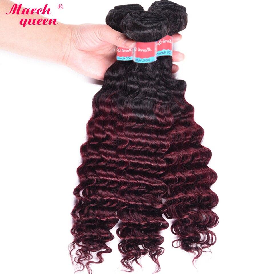 Human Hair Weaves Hair Weaves Devoted Deep Wave Bundles Peruvian Hair 100% Human Hair Bundles Ombre T1b/99j Hair Extensions 3 Bundles Human Hair Weave March Queen