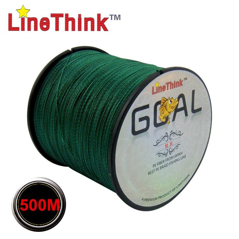 500 m marca LineThink GOAL Japón multifilamento 100% PE trenzada línea de pesca 6LB a 120LB envío gratis