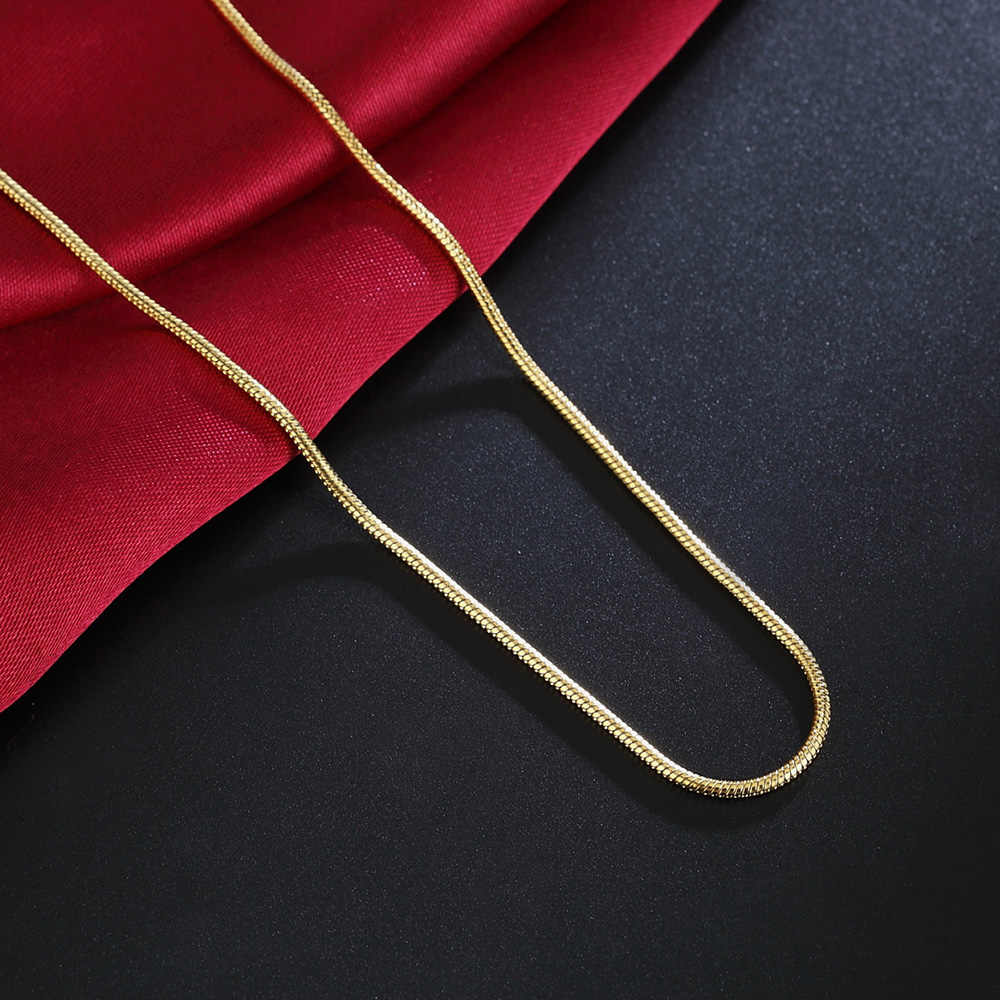 Bán Hàng nóng bán buôn bán lẻ 16 18 20 22 24 26 28 30 inch Đẹp thời trang Màu Vàng 2 MM rắn chuỗi 40-75 cm đồ trang sức tem 18 K