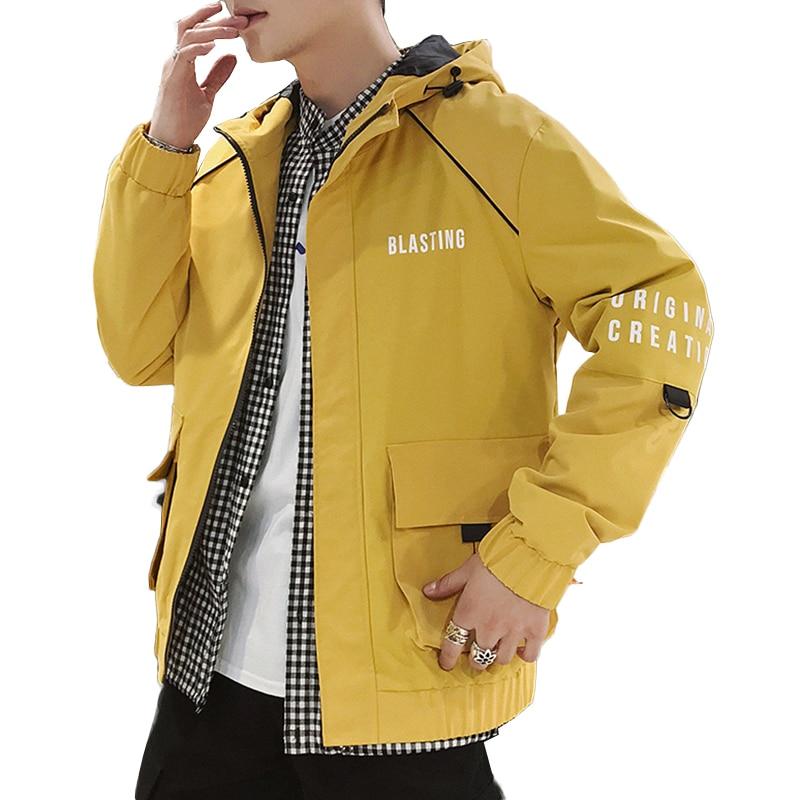 Мужская ветровка с буквенным карманом облегающие пальто колледж свободные с капюшоном Роскошные Летные Куртки мужские Стенд воротник верхняя куртка пальто