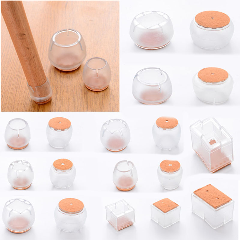 4 Pcs/bag Silicone Rectangle Square Round Chair Leg Caps Feet Pads Furniture Table Covers Wood Floor Protectors