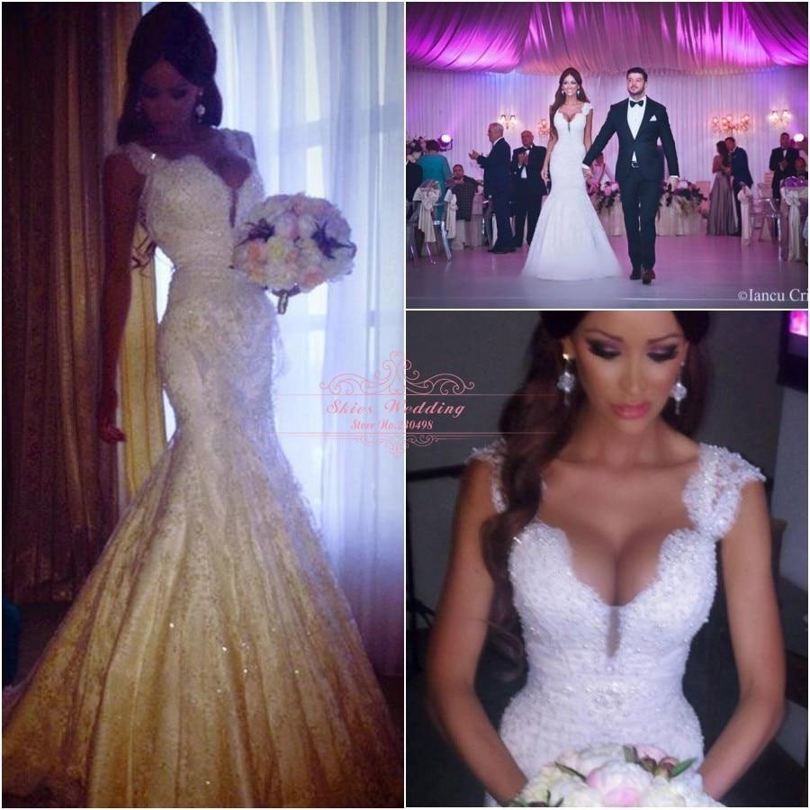 Vintage Victorian Style Cap Sleeves Lace Covered Back Princess Bridal Mermaid Wedding Dresses 2014 Fashionable vestido de noiva - Skies wedding dress store
