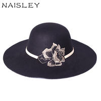 NAISLEY 2017 Sale Cappello Roses Bucket Top Cap Lady Gift Women Winter Wide Brim Felt Hats