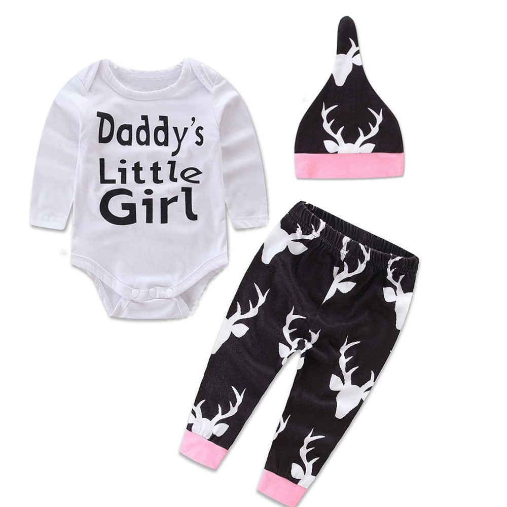 Free Shipping 2016 baby Newborn Baby Girls Boys jumper clothing 3 pcs Tops Romper +Long Pants Hat Outfits Set best love