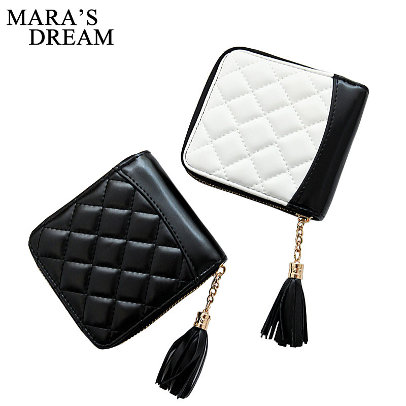 Mara's Dream 2018 Wallet PU Leather Black White Embroidered Tassel Patchwork Fashion Diamond Lattice Zipper Women Short Wallet