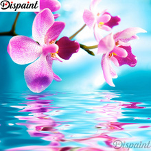 Dispaint Full Square/Round Drill 5D DIY Diamond Painting Flower Pink orchid 3D Embroidery Cross Stitch Home Decor A11590