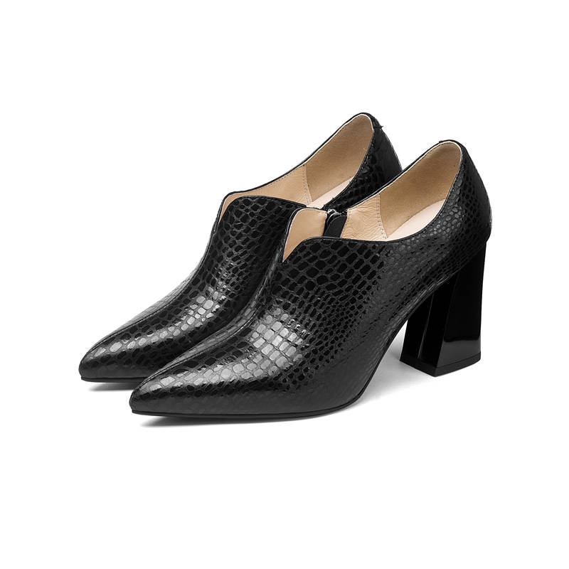 MORAZORA 2020 new arrival women pumps square high heels shoes woman pointed toe zipper genuine leather fashion party shoes