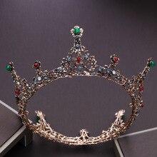 Vintage Princess Hair Tiaras Bridal Headpiece Women  Colorful Crystal Crown Ornaments Wedding Jewelry Accessories