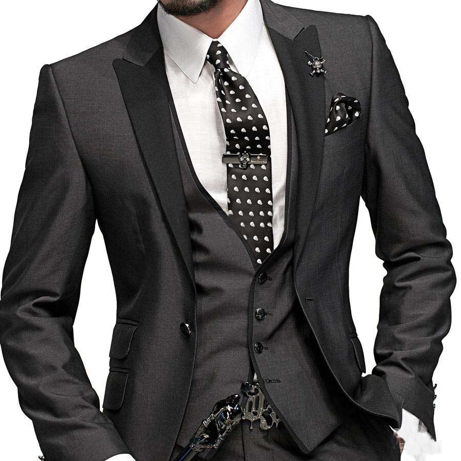 Romantic Black Wedding Man's Suit Party Dress Lounge Suit&Wedding Tuxedos Men Wedding Suits