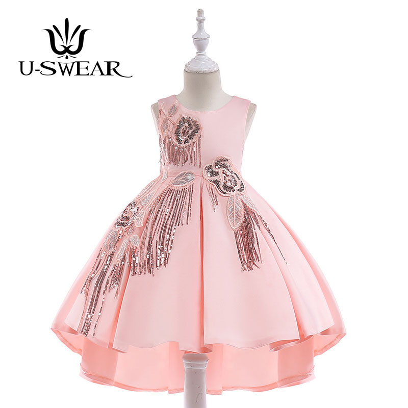 U-SWEAR 2019 New Arrival Kid   Flower     Girl     Dresses   O-neck Sleeveless Sequined Beaded Embroidery Ball Gown Pleat   Girls   Vestidos