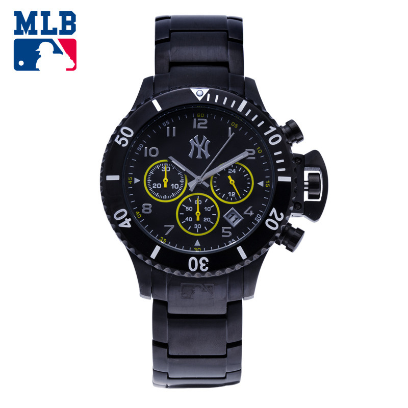 все цены на MLB Original NY Times Square Series Men's Black Key Stainless Steel Watch Sport Quartz Multiple Dial Watches Waterproof 50m онлайн