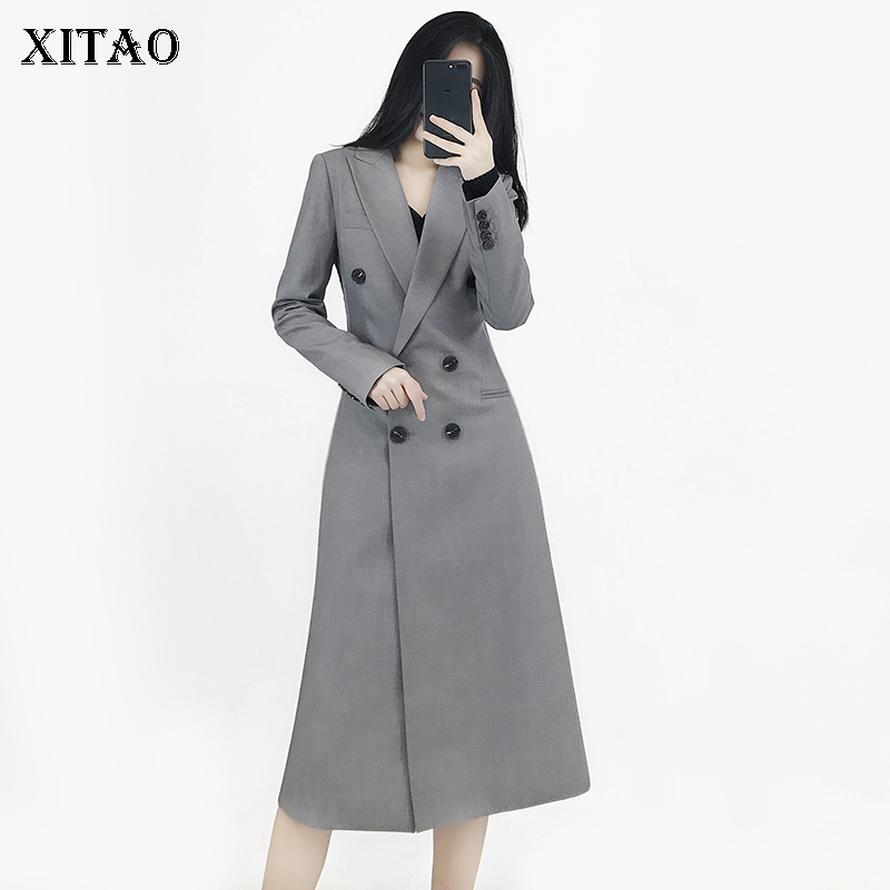 [XITAO] New Women 2018 Winter Double Breasted Turn-down Collar Full Sleeve Solid Color Long Casual Pocket   Trench   Coat WBB1110