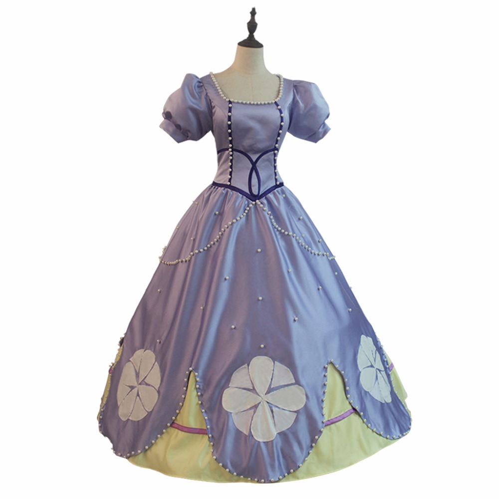 Princess Sofia Dress Costume Cosplay Sofia the First Lady's Dress Costume Cosplay Adult's Halloween Carnival Dress Cosplay