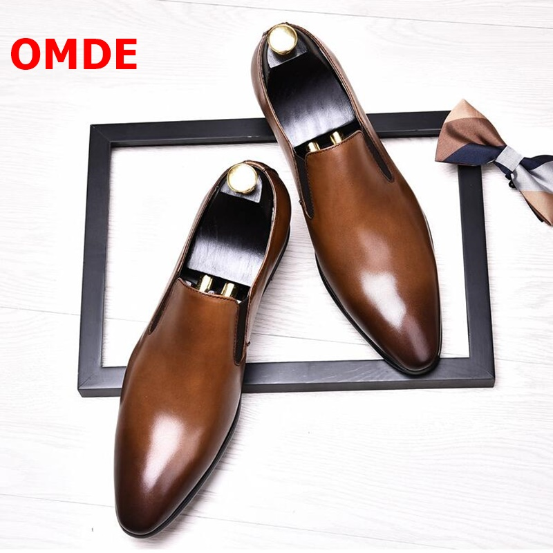 OMDE Simple Style Genuine Leather Mens Shoes Casual Flats Fashion Pointed Toe Mens Loafers Slip On Men's Party And Wedding Shoes