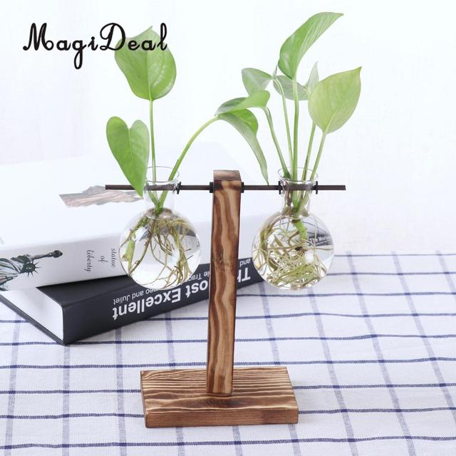 Magideal Cute Vintage Wooden Stand Glass Hydroponic Flower Vase