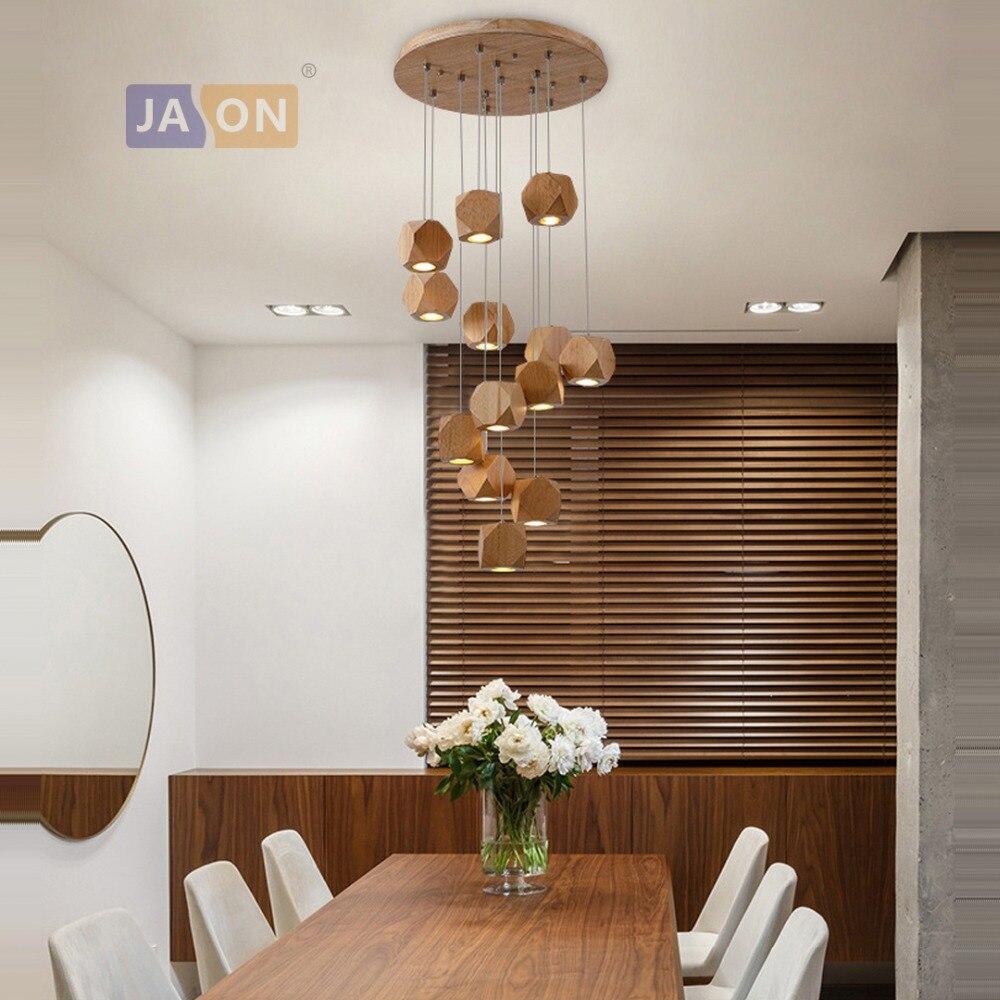 g4 led Postmodern Wood Iron Chandelier Lighting Lamparas De Techo Suspension Luminaire Lampen For Foyer Bedroom