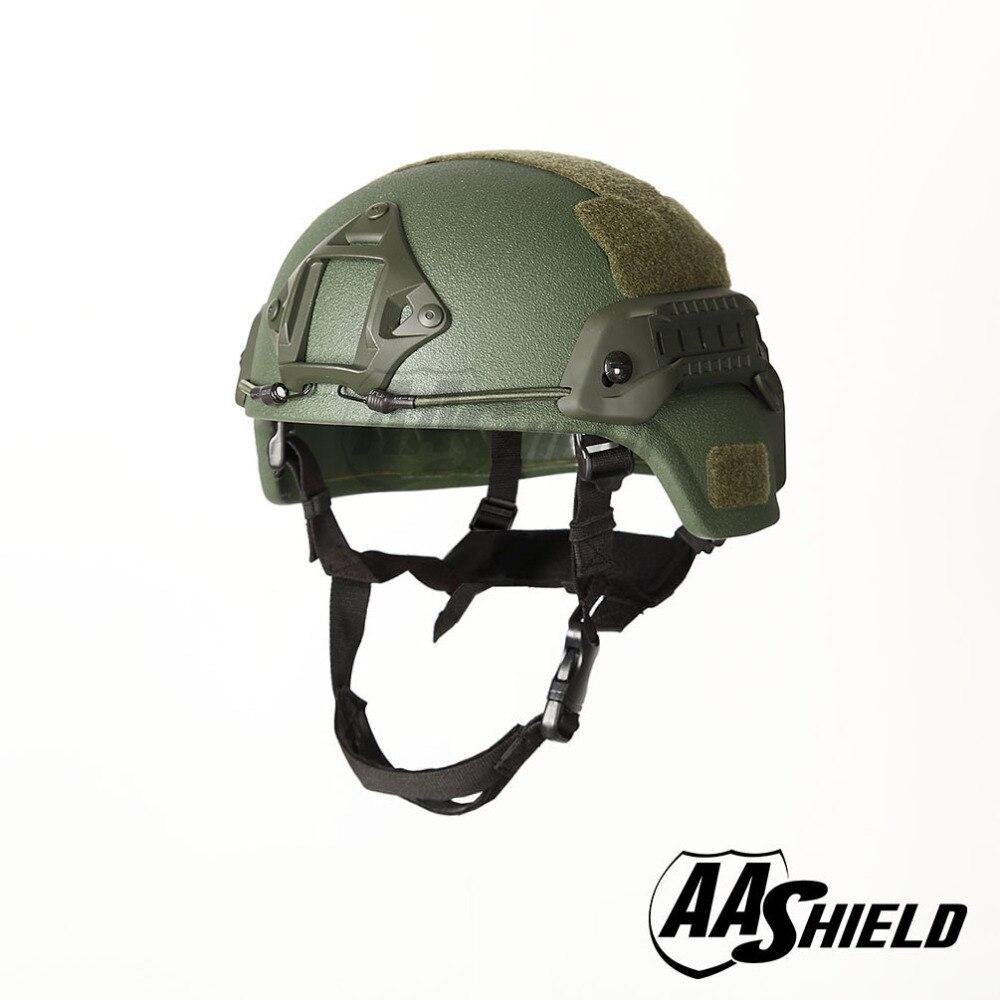 AA Shield Ballistic MICH Tactical Helmet Bulletproof Aramid IIIA Tan//OD//Black