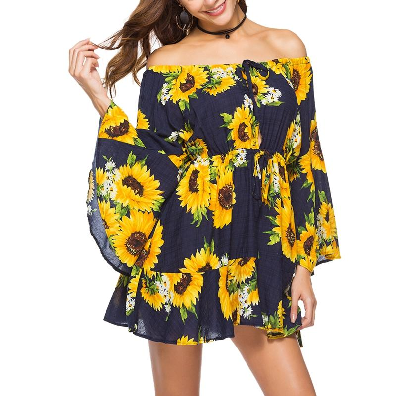 2018 Sexy Women Casual Bohemian Sunflower Dress Print Off The Shoulder Dress Holiday Female Vestidos Party Mini Dresses