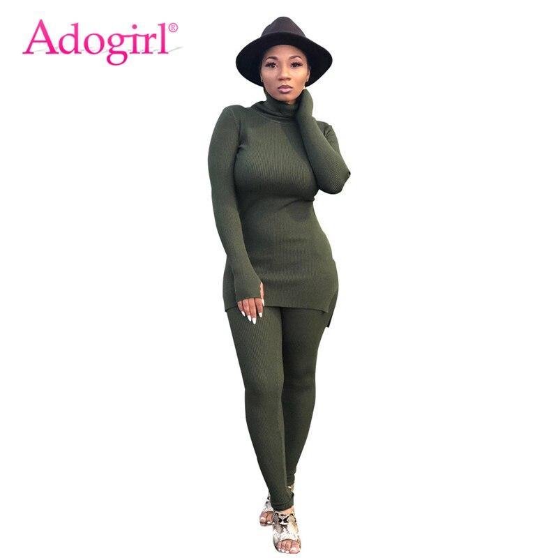 Adogirl Plain Cotton Csual Two Piece Set Turtleneck Full Sleeve Long Slim Top + Skinny Pants Leggings Autumn Winter Apparel