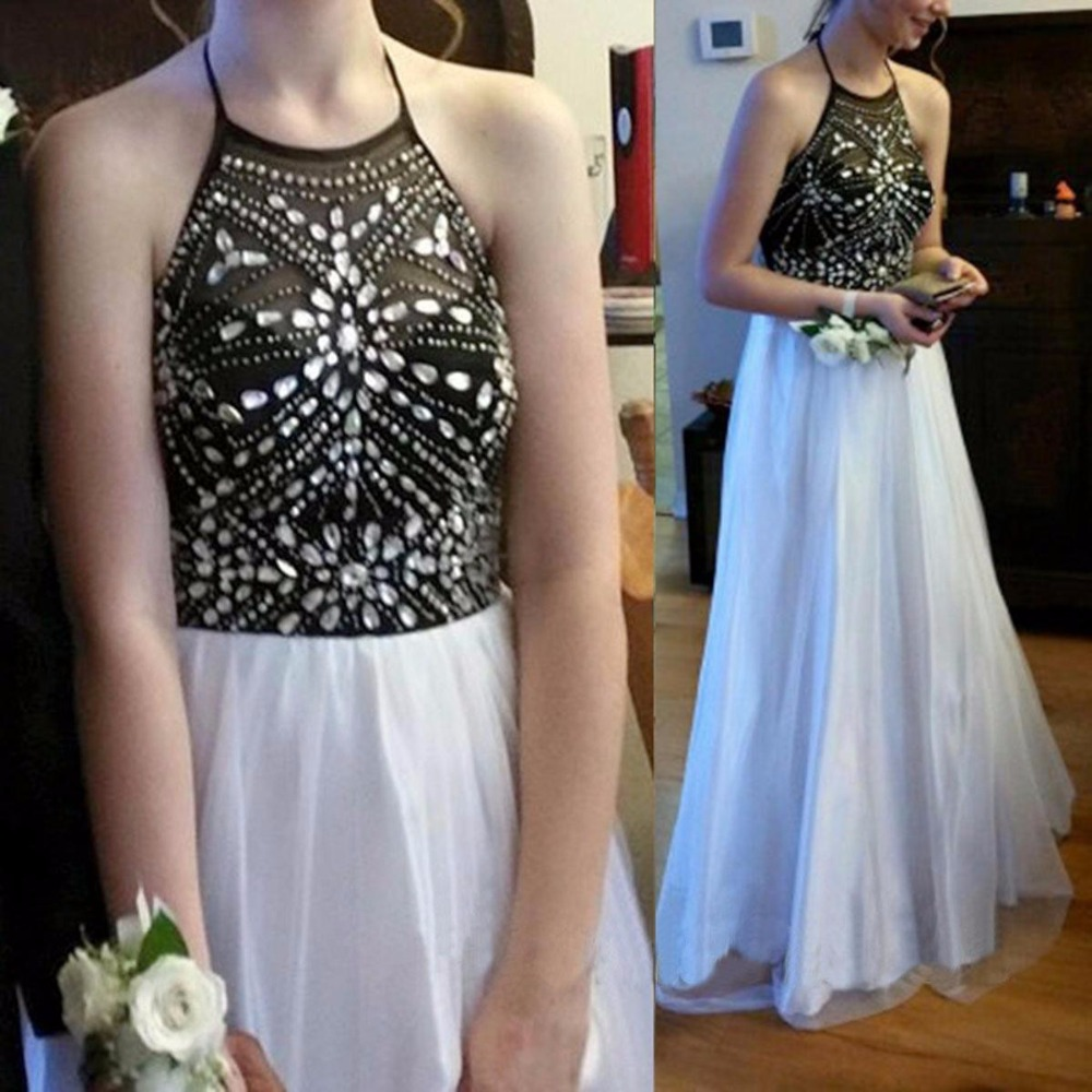 748a79c9e33739 Black Top And White Skirt Sexy A line Long Tulle Long Prom Dresses Beaded  Crystals Evening Gowns Halter Neck-in Prom Dresses from Weddings & Events  on ...
