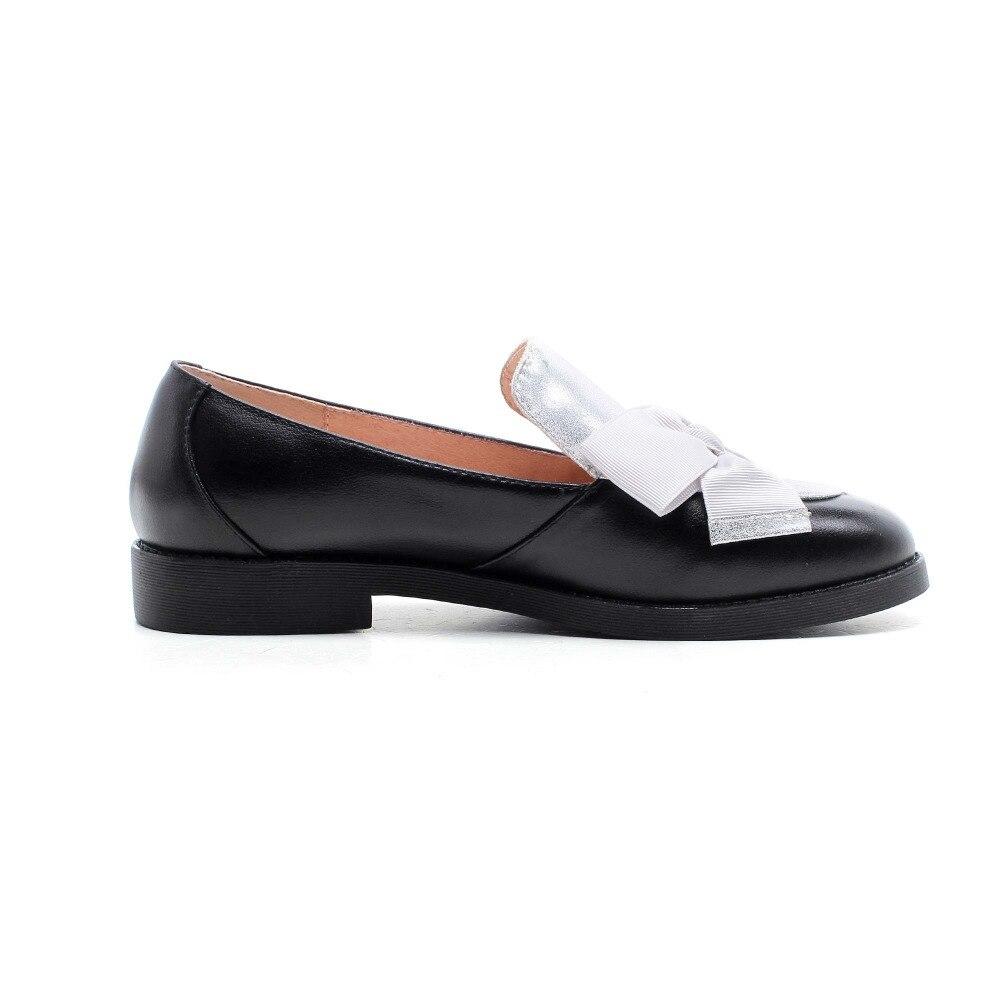 Sur Cuir Hauts Mode argent Rond Classique Pompes Chaussures Haute Causalité Glissement Simple Bout Noir Véritable Style 2018 De Femmes Lenkisen Talons Bowtie L26 q8xwfCIn