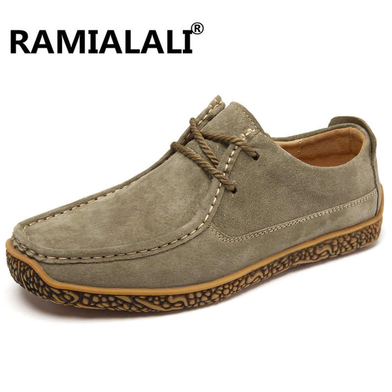 Ramialali Spring/Autumn Men's Casual Shoes Moccasins Krasovki Men Loafers Fashion Male Boat Shoes Genuine Leather Men Shoes