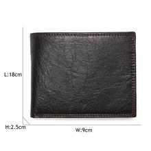 TAUREN 2019 New Men Wallet 100% Genuine Leather Crazy Horse Zippper Coin Pocket Top Grain Cow Leather Wallet Men
