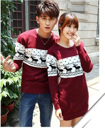 BK Newest! Long Sleeve Knitted Deer Lovers Sweaters Fashion Men and Women Sweaters And Pullovers Couple Christmas Sweaters