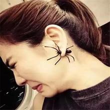 DoreenBeads 1 PC Punk Black Spider Earrings Halloween 3D Animal Stud Earrings European Vintage Fashion Jewelry Ear cuff Earrings