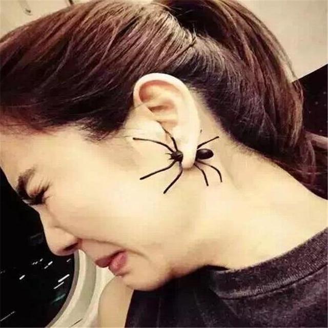 DoreenBeads 1 UNID Punk Negro Pendientes de Araña de Halloween 3D Animal Stud Pendientes de Joyería de Moda Europeo de La Vendimia Pendientes Del manguito Del Oído