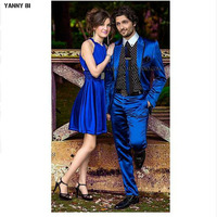 Custom Made Royal Blue men Groom Tuxedos Two piece Suit male suit men suits Groom Wear Wedding Suits