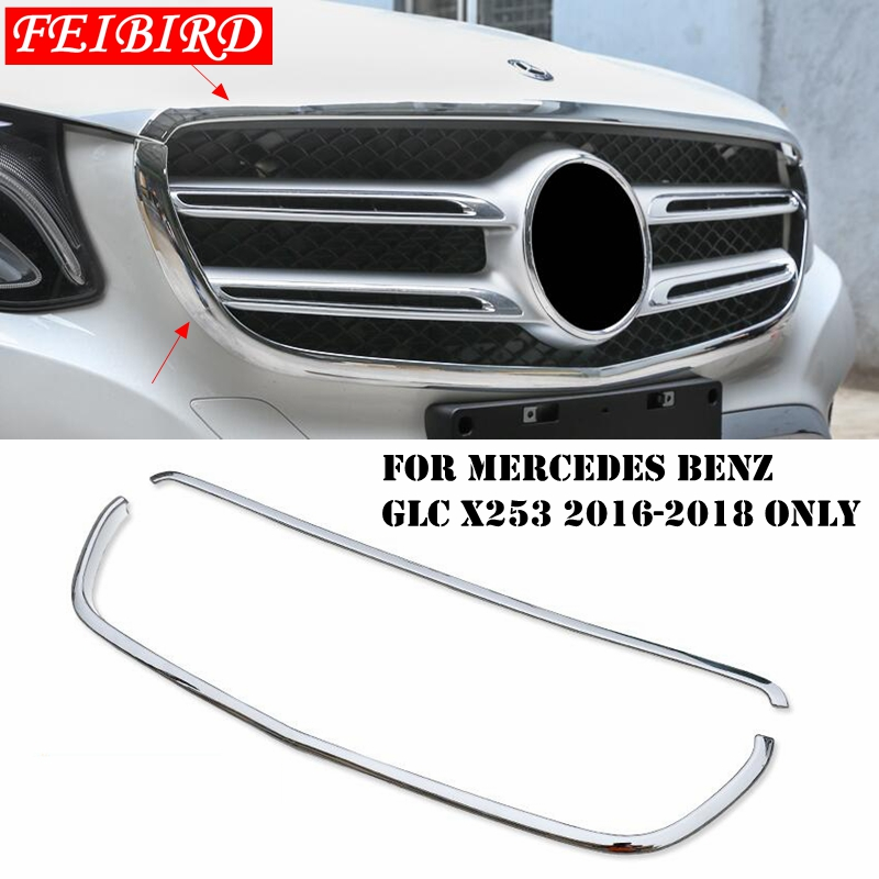 Accessories ABS Chrome For Mercedes Benz GLC X253 2016 2017 2018 Front Grille Grill Lid Frame Cover Trim Bright Silver Accessories ABS Chrome For Mercedes Benz GLC X253 2016 2017 2018 Front Grille Grill Lid Frame Cover Trim Bright Silver