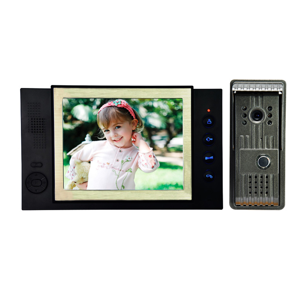 (1 set) TFT-LCD 8 inch Monitor Video door phone Night Vision Door Access Push release wired type doorbell Intercom system 7tft lcd free disturb wired audio video door intercom system with night vision monitor doorbell for 10 apartments of 1 building